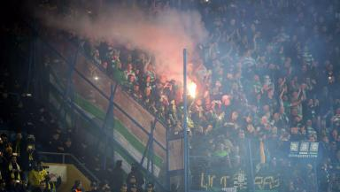 Celtic fans during the away clash with Fenerbahce.