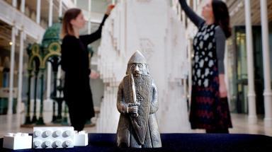 Beserker: National Museum staff complete sculpture.