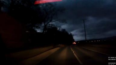 Sky: Dashcam footage captured the moment the sky lit up.