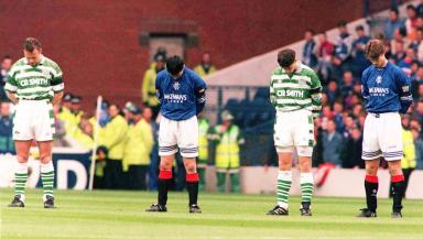 Old Firm: Rivalries were set aside to remember those who were killed.