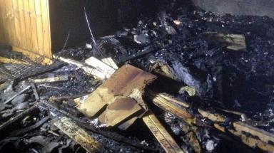 Destruction: Blaze left building badly damaged.