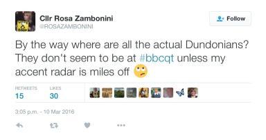 Cllr Rosa Zambonini Question Time tweet