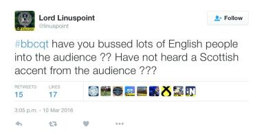 @linuspoint tweet on Question Time.