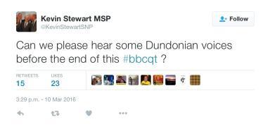Kevin Stewart MSP tweet on Question Time
