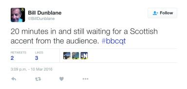 @billdunblane tweet on Question Time