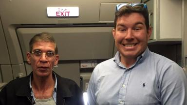 EgyptAir: Ben Innes (right) with hijacker.
