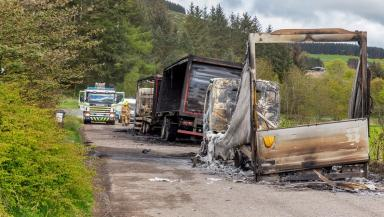 Torched: Lorries were taken from Aberdeen on Monday.