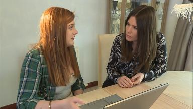 Health: Chloe (left) spoke to STV's Rebecca Curran (right) about mental health issues.