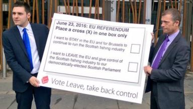 Backing Leave: Conservative MSPs Ross Thomson and Graham Simpson campaign outside Holyrood.