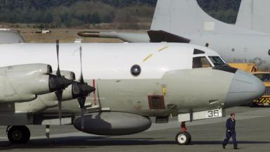 A US Navy EP-3 surveillance airplane