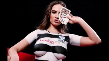Kit launch: Topless model with Ayr United strip painted on.