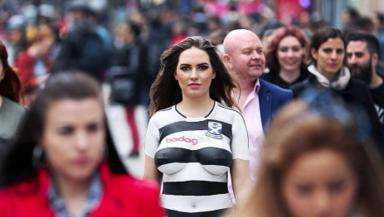 Topless model used in Ayr United kit launch promotion.