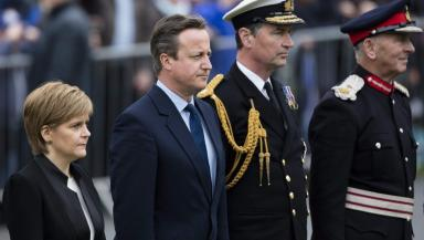 Service: Nicola Sturgeon and David Cameron at the Kirkwall ceremony.
