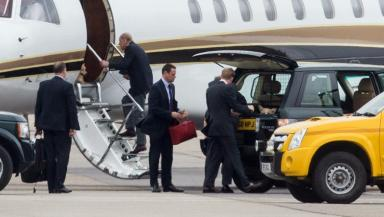 Duke: Prince Philip was seen leaving Aberdeen Airport after missing the ceremony.