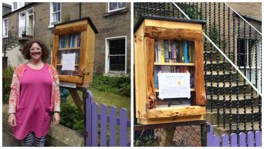 Book artist: Rachel's library is the latest addition to Scotland's growing collection.