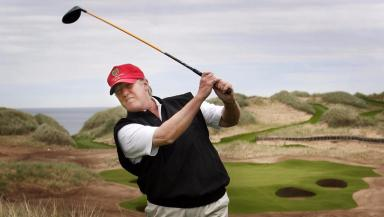 Donald Trump: Billionaire at his Aberdeen course (file pic).