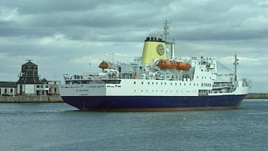 Leaving home: St Helena sails out of Aberdeen for last time.