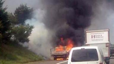 Fire: Traffic was diverted after lorry went ablaze.