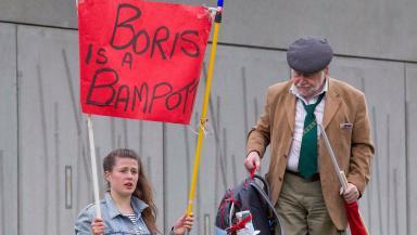 Pro-EU: Placard targets Boris Johnson.