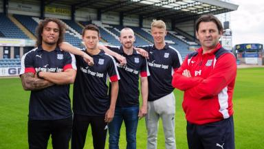 Paul Hartley with Yordi Teljsse, Danny Williams, James Vincent and Mark O'Hara