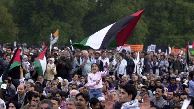 Solidarity: Palestinian flags are flown at a 2002 'peace rally' in London.