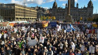 George Square: Anti-war demonstrators on October 19, 2002.