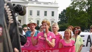Cindy Sheehan: Anti-war activist outside the White House, July 3 2006.