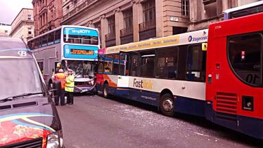 Collision: Four buses were involved in the crash.