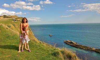 Natalia and her daughter Elizabeth at Durdle, the last seaside trip they took together.