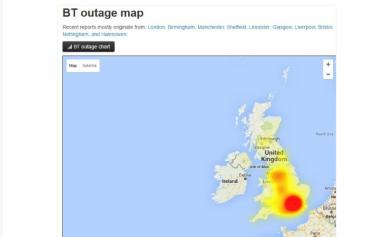 Issues: Down Detector's outage map shows the extent of the problem.