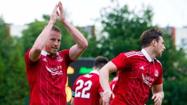 Aberdeen's Adam Rooney celebrates scoring.