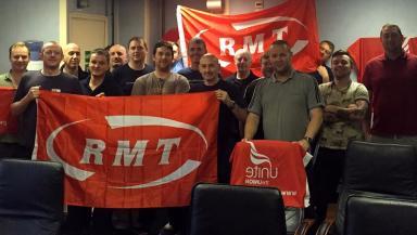 North Sea: Oil workers during 24-hour strike last week.