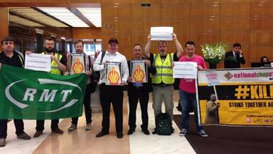 London: Demonstration in support of strike at Shell's Canary Wharf HQ.