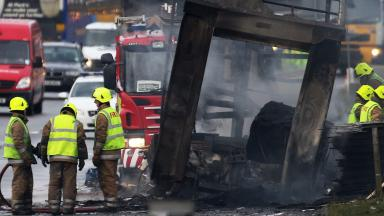 A90: A lorry exploded in flames in rush hour traffic on the road in 2013.