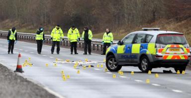A9: Police inspect the scene after a 16-year-old girl died in a road traffic accident.