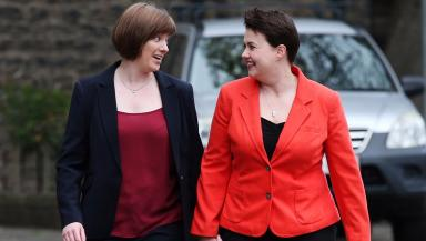Pride: Ruth Davidson with partner Jen Wilson (file pic).