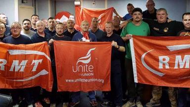 Brent Charlie: RMT and Unite union members on strike.