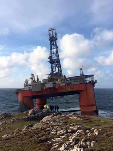 Strabded: Close-up picture of the 17,000-tonne rig on Lewis.