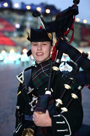 Fifer Megan, from Burntisland, who has been playing the pipes since the age of nine.