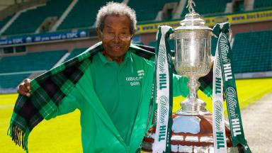 Sam Martinez: The super fan finally got his hands on the Scottish Cup.