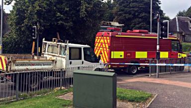 Blaze: Fire vehicle outside former Larkfield Masonic Club.