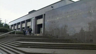 Court: Goodwillie was in the dock at Glasgow Sheriff Court the day after playing against Spain.