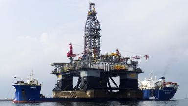 OHT Hawk: Huge semi-submersible carrying another oil rig (file pic).