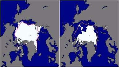 This picture shows the amount of ice in September 1981 (left) compared to September 2016 (right).