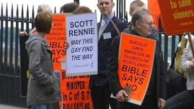 Protest: The appointment of openly gay minister Scott Rennie divided the Church of Scotland.