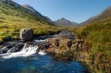 Beautiful setting: River flowing through Glen Rosa.
