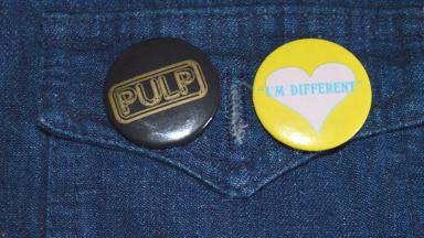 Britpop: Caroline's own badge collection features in her fashion timeline.
