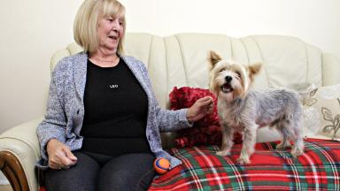 Furry friend: Moira Clark, 76, and Leo in Paisley.