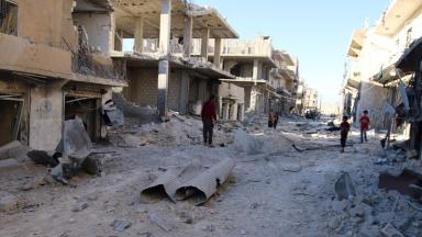 Syria: Conflict has left many areas in ruins .