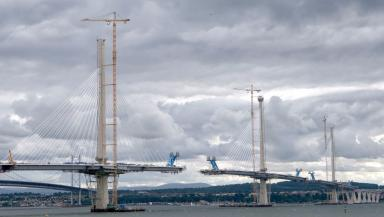 Under construction: Queensferry Crossing nearing completion earlier this year.